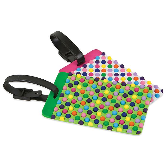 Alternate image 1 for Luggage Tags (Set of 2) in Dots