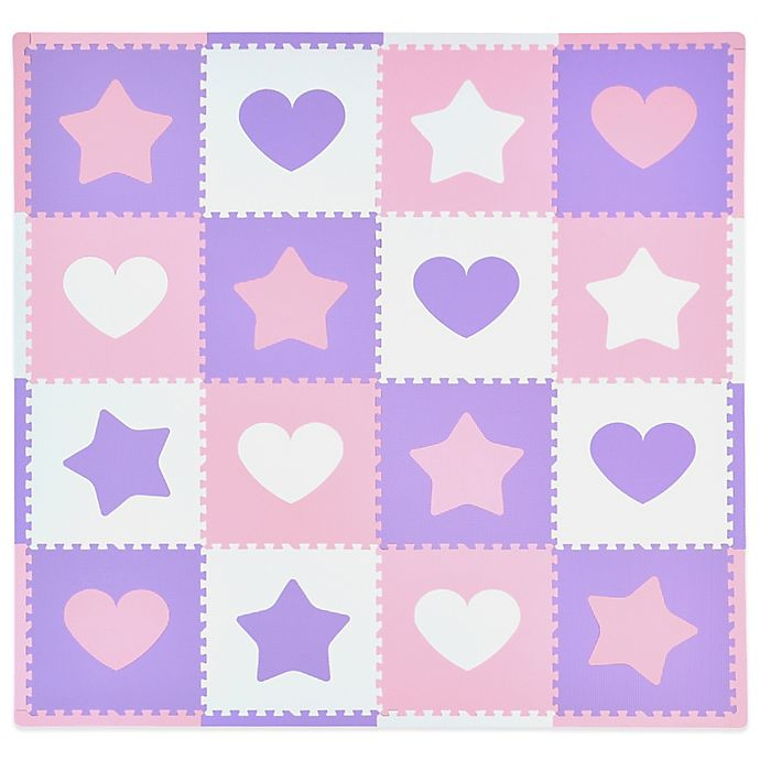 Alternate image 1 for Tadpoles™ by Sleeping Partners Hearts and Stars 16-Piece Playmat Set in Pink/Lavender