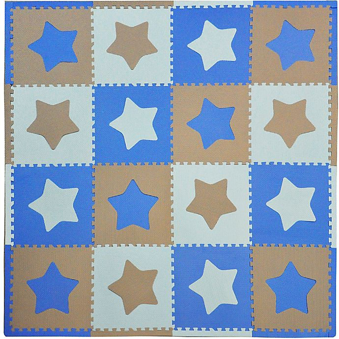 Alternate image 1 for Tadpoles™ by Sleeping Partners Stars 16-Piece Playmat Set in Blue/Grey