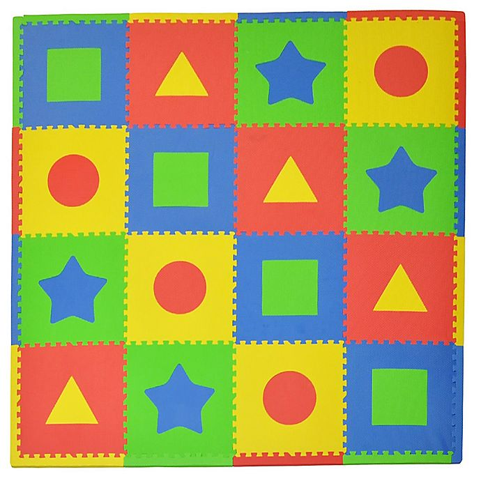 Alternate image 1 for Tadpoles™ by Sleeping Partners First Shapes 16-Piece Playmat Set in Primary Multicolor
