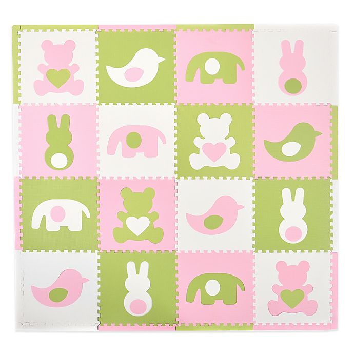 Alternate image 1 for Tadpoles™ by Sleeping Partners Teddy & Friends 16-Piece Playmat Set in Pink/White/Green