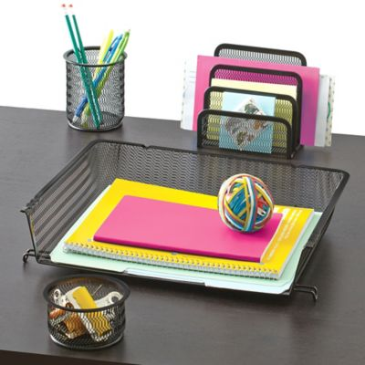 Mesh Desk Organizer 4 Piece Set In Black Bed Bath Amp Beyond