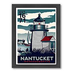 Americanflat Nantucket Lighthouse Blue Digital Print Wall Art
