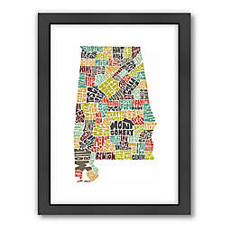 Americanflat Alabama Typography Map Digital Print Wall Art in Color