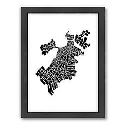 Americanflat 26.5-Inch x 20.5-Inch Boston Typography Map in Color