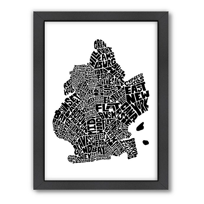 Alternate image 1 for Americanflat Brooklyn Typography Map Digital Print Wall Art in Black and White