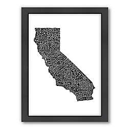 Americanflat 26.5-Inch x 20.5-Inch California Typography Map in Black and White