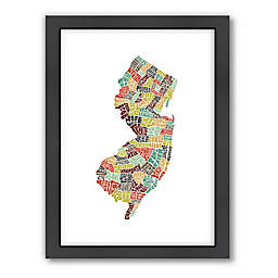 Americanflat New Jersey Typography Map Digital Print Wall Art in Black and White