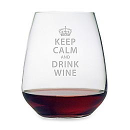 "Susquehanna Glass Etched ""Keep Calm and Drink Wine"" Stemless Wine Glass"