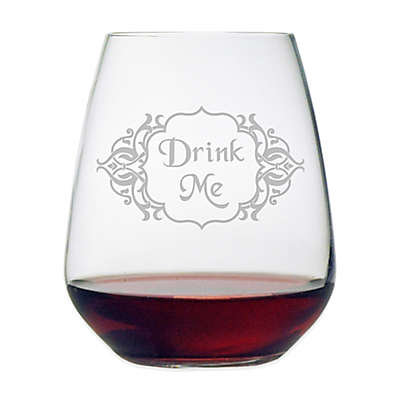 "Susquehanna Glass Etched ""Drink Me"" Stemless Wine Glass"