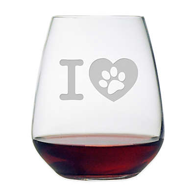 "Susquehanna Glass Etched ""Pet Lover's"" Stemless Wine Glass"