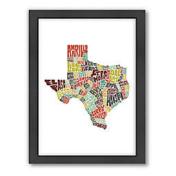 Americanflat 26.5-Inch x 20.5-Inch Texas Typography Map in Color