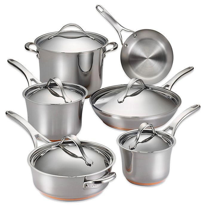 Alternate image 1 for Anolon® Nouvelle Copper Stainless Steel 11-Piece Cookware Set