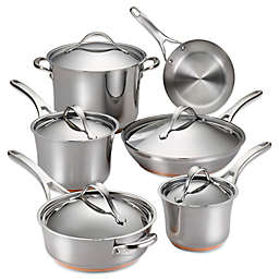 Anolon® Nouvelle Copper Stainless Steel 11-Piece Cookware Set