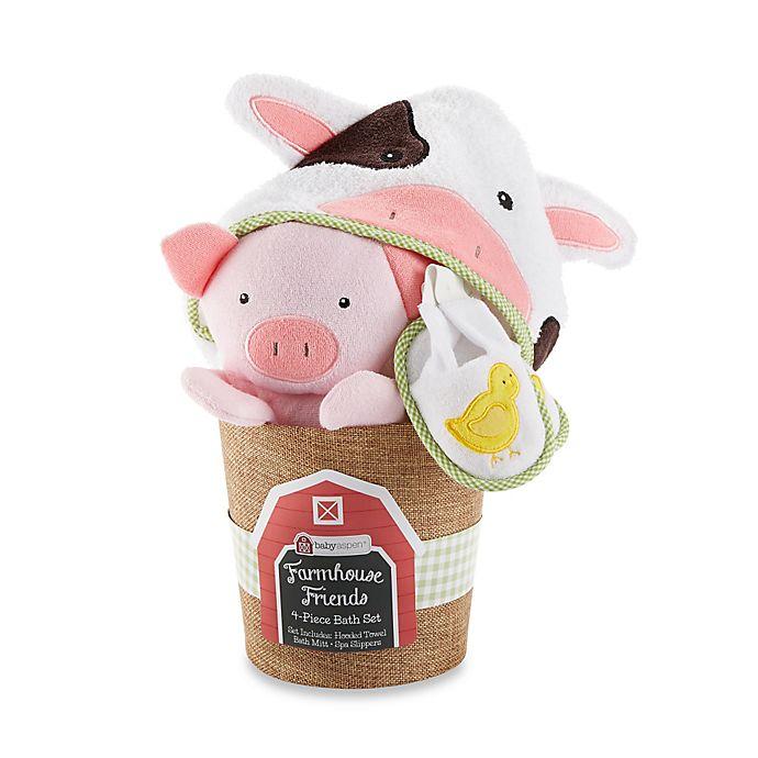 Alternate image 1 for Baby Aspen 3-Piece Farmhouse Friends Bathtime Bucket Gift Set