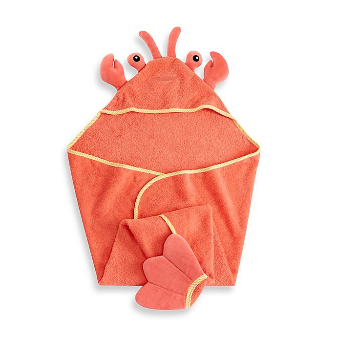 Alternate image 1 for Baby Aspen Lobster Laughs Lobster Terry Hooded Towel in Coral