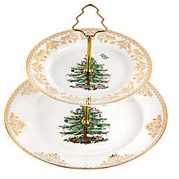 Spode® Christmas Tree Gold 2-Tier Cake Stand