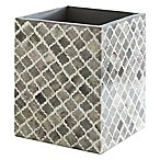 Kassatex Marrakesh Real Bone Wastebasket in Grey