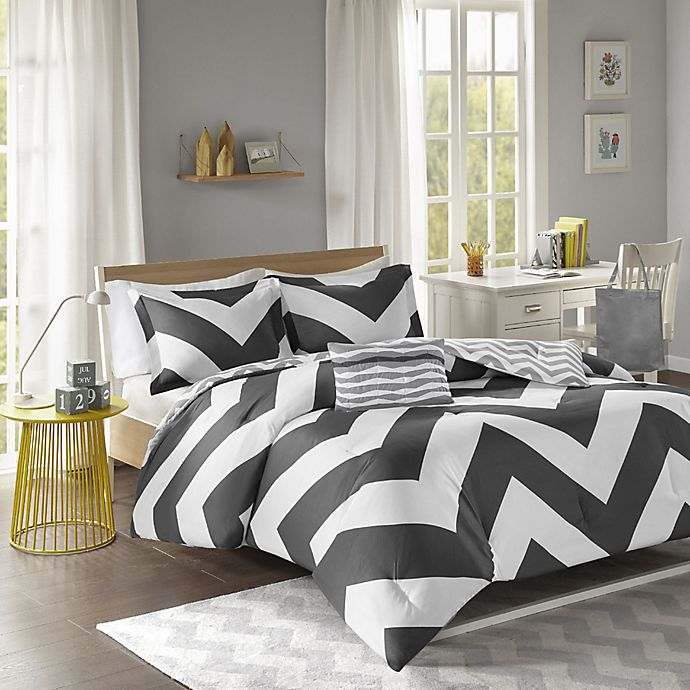 Libra Reversible Chevron Comforter Set In Black White Bed Bath