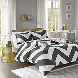 Libra Reversible Chevron Comforter Set in Black/White