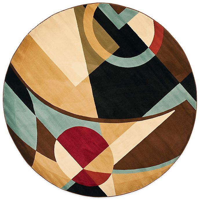 Safavieh Porcello Collection Gannon Black Multi 7 Foot Round Rug
