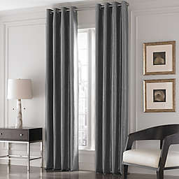 Valeron Lustre Solid 84-Inch Window Curtain Panel in Charcoal