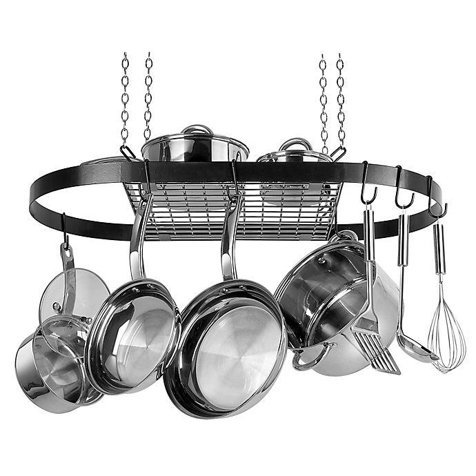Range Kleen® Oval Hanging Pot Rack in Black | Bed Bath ...