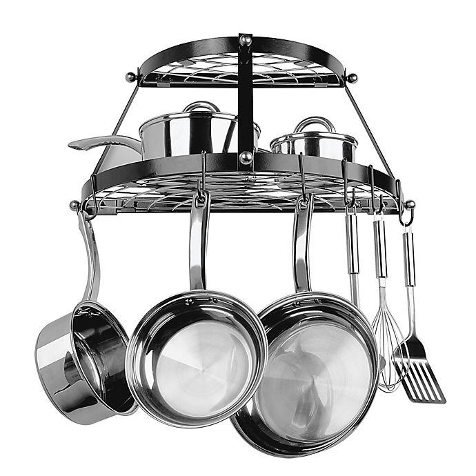 Alternate image 1 for Range Kleen® Double Shelf Wall Mounted Pot Rack in Black