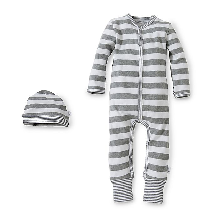 Alternate image 1 for Burt's Bees Baby™ Organic Cotton Coverall and Hat Set in White Stripe