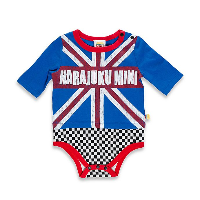 Alternate image 1 for Harajuku Mini Britain-Themed Long-Sleeve Bodysuit