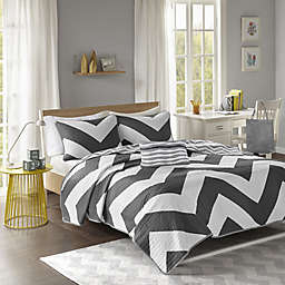 Libra Reversible Chevron Coverlet Set in Black/White