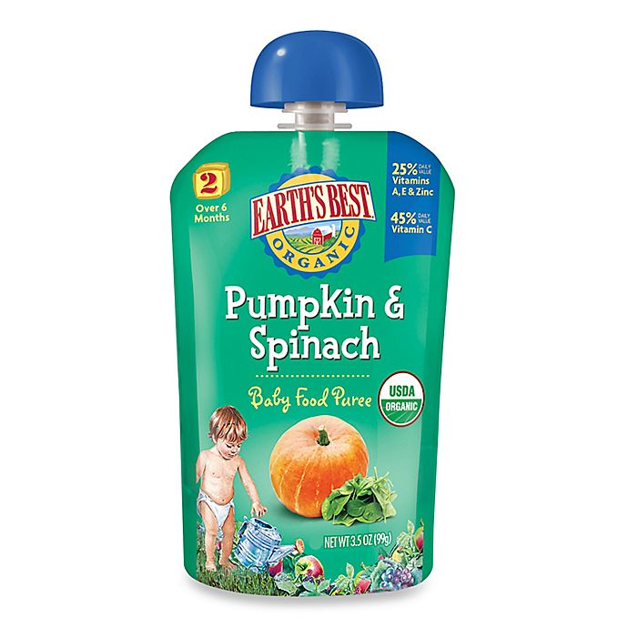 Alternate image 1 for Earth's Best® Organic 3.5 oz. Pumpkin & Spinach Baby Food Puree