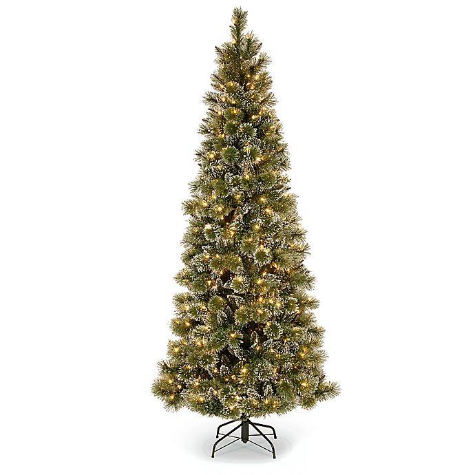 Alternate image 1 for National Tree Company 7-1/2-Foot Pre-Lit Glittery Bristle Pine Slim Christmas Tree