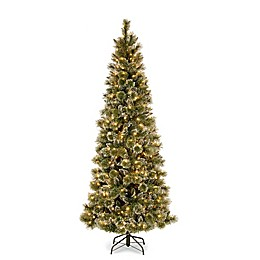 National Tree Company 7-1/2-Ft Pre-Lit Glittery Bristle Pine Christmas Tree w/ LED Lights