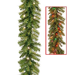 National Tree Company 9-Foot 10-Inch Pre-Lit Norwood Fir Garland with Dual Color® LED Lights