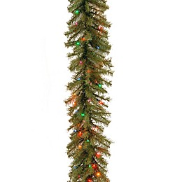 National Tree Company 9-Foot 10-Inch Norwich Fir Garland with 50 Multi-Colored Lights