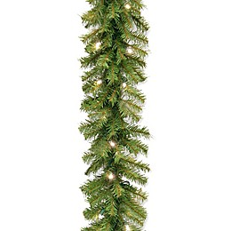 National Tree Company 9-Foot 10-Inch Norwich Fir Garland with 50 Warm White Lights