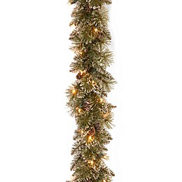 National Tree Company Pre-Lit Glittery Bristle Pine Garland with Soft White LED Lights