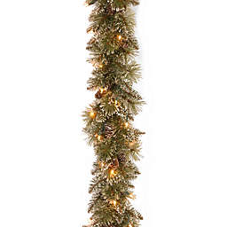 national tree company 6 foot pre lit glittery bristle pine garland with soft white - Pre Lit Christmas Wreaths Battery Operated