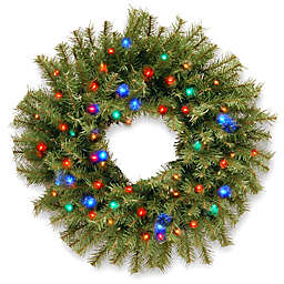 National Tree Company Norwich Fir Wreath with Multi-Colored Lights