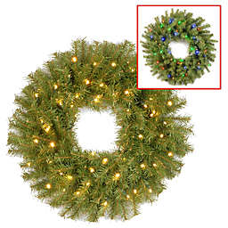 National Tree Company 24-Inch Pre-Lit Norwood Fir Wreath with Dual Color® LED Lights