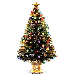 National Tree Fiber Optic Fireworks Ornamental Tree with Gold Base