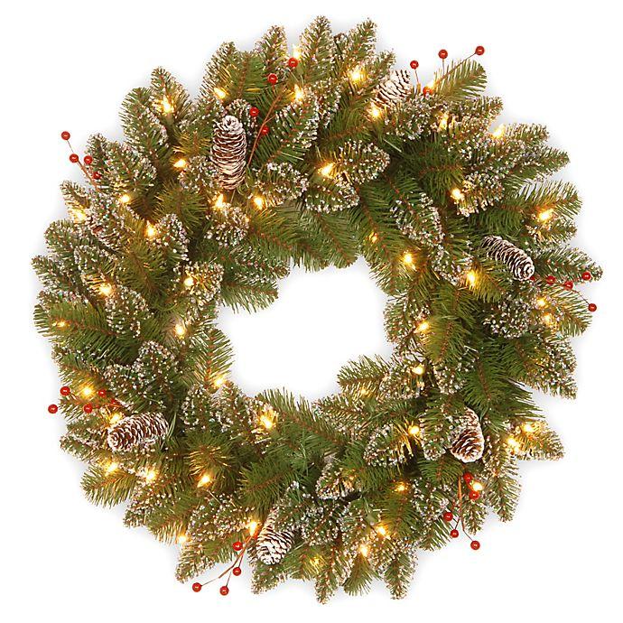 Pre Lit 24 Inch Glittery Mountain Spruce Wreath Bed Bath