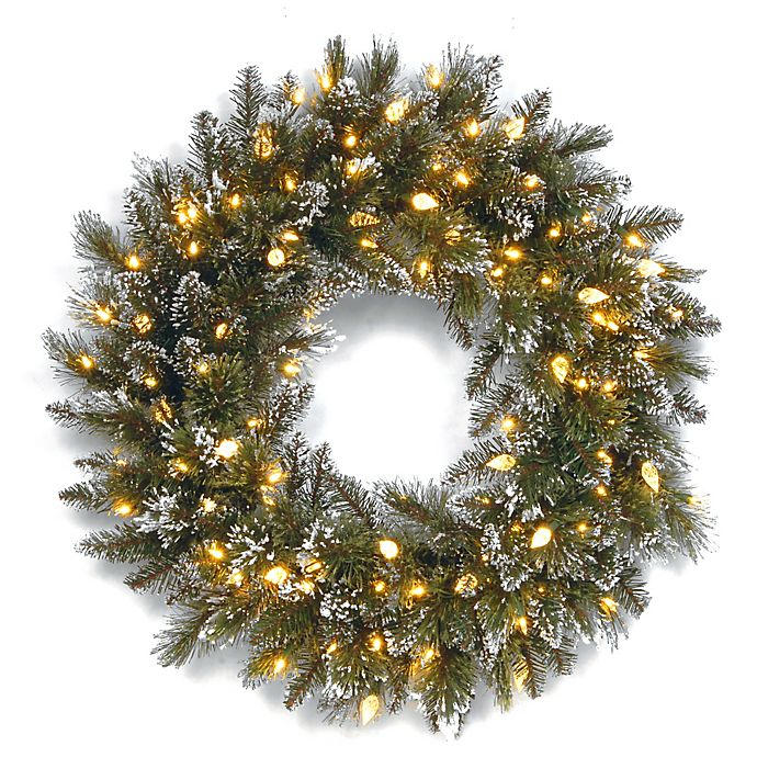 Alternate image 1 for National Tree Company 24-Inch Pre-Lit Glittery Bristle Pine Wreath with Soft White LED Lights