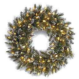 National Tree Company 24-Inch Pre-Lit Glittery Bristle Pine Wreath with Soft White LED Lights