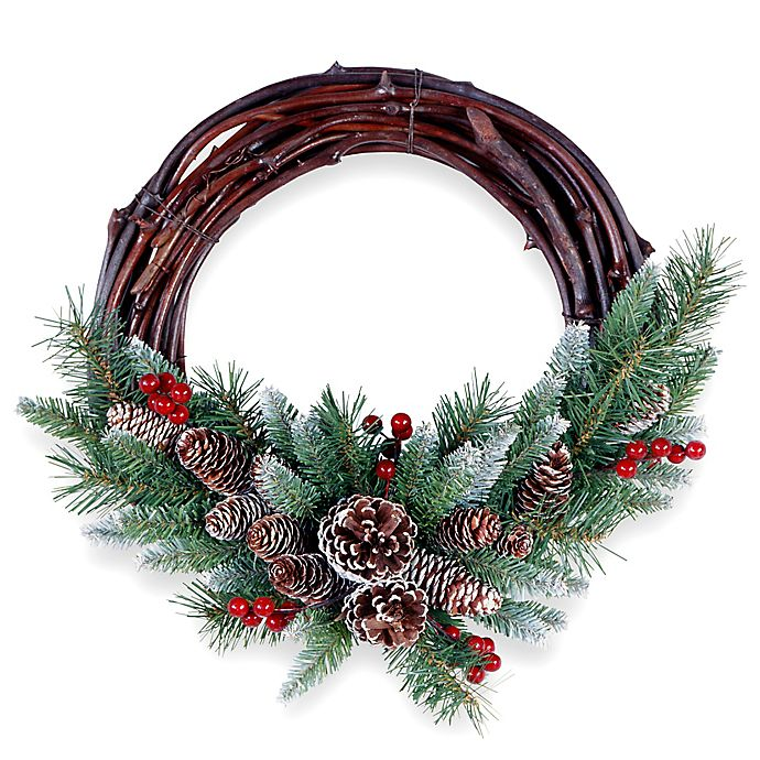 Alternate image 1 for National Tree 16-Inch Frosted Berry Grapevine Wreath