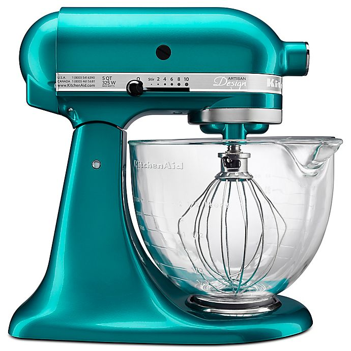 Alternate image 1 for KitchenAid® 5 qt. Artisan® Design Series Stand Mixer with Glass Bowl in Seaglass
