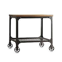 iNSPIRE Q® Morgan Wood and Metal End Table with Fixed Wheels