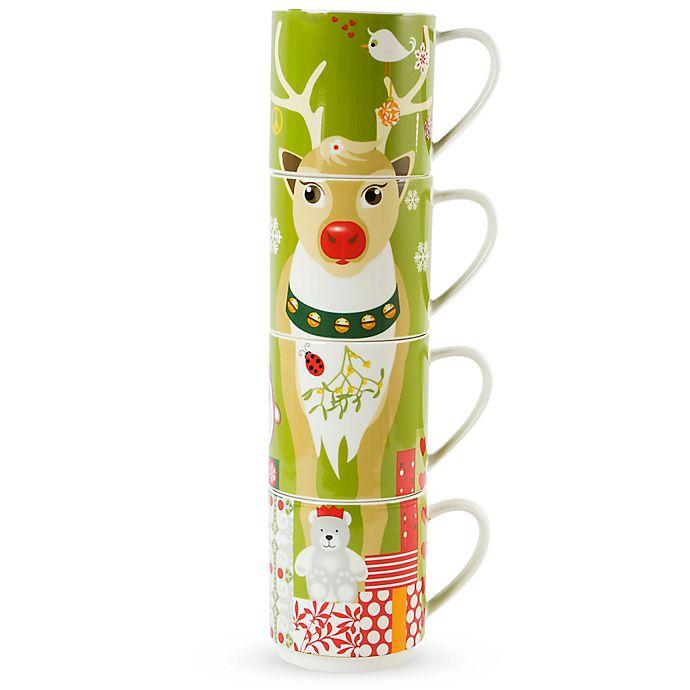 Alternate image 1 for Maxwell & Williams™ Kris Kringle Reindeer Stackable Holiday Mugs (Set of 4)