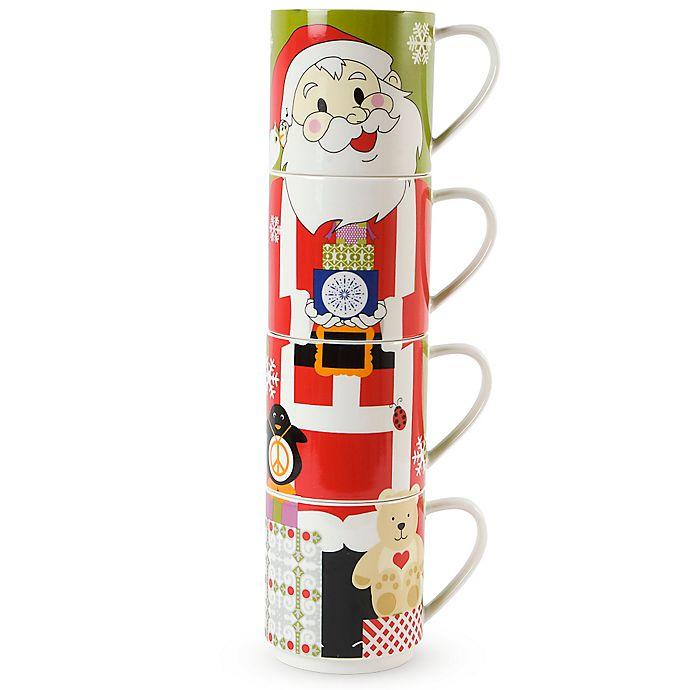 Alternate image 1 for Maxwell & Williams™ Kris Kringle Santa Stackable Holiday Mugs (Set of 4)